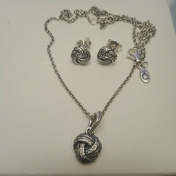 e2adae204 Pandora Jewelry | Authentic Sparkling Love Knot Earrings Set | Poshmark